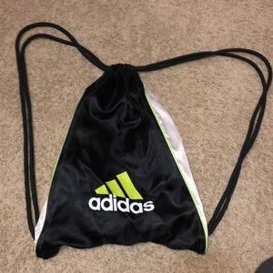 Adidas lime green and black gym sack bag